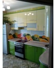 кухня с вставкой каленого стекла на фотопечати